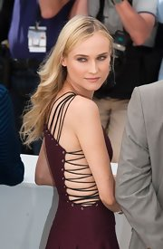 Diane Kruger arrived at the Cannes Film Festival wearing her hair casually styled in long wind-swept waves.