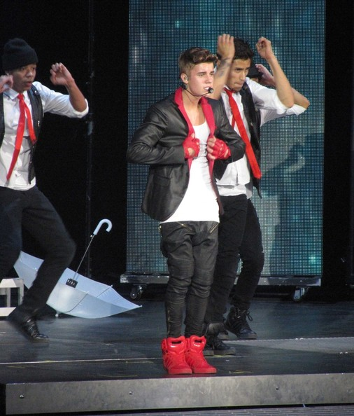 Justin Bieber donned a black leather suit for his performance at the Air Canada Centre.