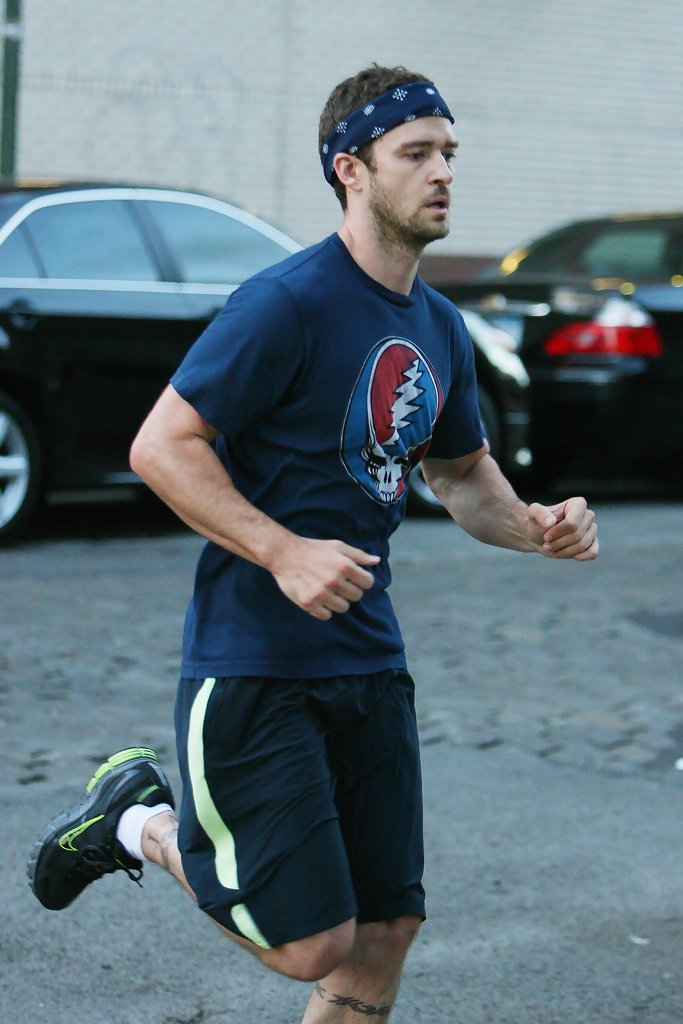 23ef0604e15 Justin Timberlake was spotted on a run in Tribeca wearing a neon pair of  Nike s
