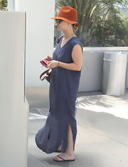 Kaley Cuoco sported a totally summery look when she wore this navy blue flowing maxi dress while out in LA.