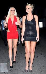 Karissa Shannon paired silver platform pumps with a skimpy LBD for a night of clubbing in Hollywood.