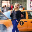 Karolina Kurkova's Royal Blue Slacks and Polka-Dot Top