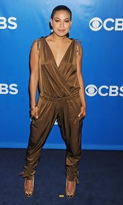 Toni Trucks tried a daring look at the CBS Upfront Awards in this bronze jumpsuit.