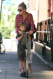 Kate Hudson played with her son Ryder while playing on a scooter in New York City.