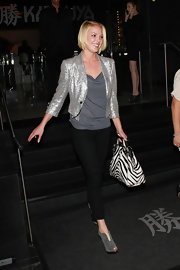 Katherine Heigl injected an exotic flair into her sparkly street style with a zebra print tote.