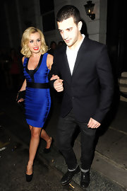Katherine Jenkins wore this bright blue bandage dress while out with her 'Dancing With the Stars' partner.