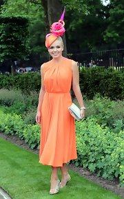 Katherine looked pretty in tangerine at the Royal Ascot's Opening Day.