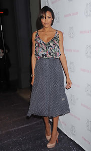 Selita wore a flowing polka-dot skirt with a floral blouse to the REbecca Taylor flagship store opening in NYC.