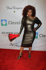 Chaka Khan showed off her curves with this long-sleeved, metallic dress.