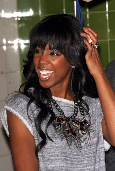 More Pics of Kelly Rowland Long Curls with Bangs (6 of 31) - Long Curls with Bangs Lookbook - StyleBistro []