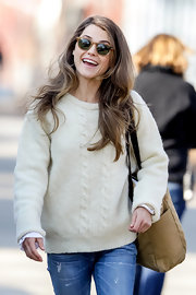 Keri Russell looked retro on the set of 'The Americans' with these wayfarers.