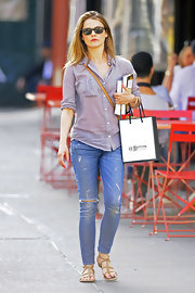 Keri Russell strolled around New York City wearing a comfy pair of gladiator sandals.
