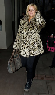 Kerry were a glamorous leopard print fur coat for this fuzzy style.