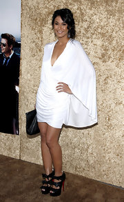 The actress looked stunning in a cape-like draped cocktail dress with the fabulous platform Madame Butterfly booties.