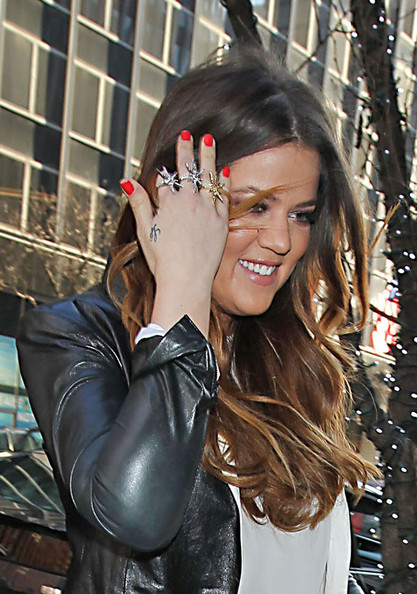 Khloe Kardashian wore a pretty bright red nail polish while in NYC.