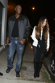 Lamar Odom spruced up his distressed jeans with a stylish Nike leather-panel jacket while out on a dinner date with his wife.