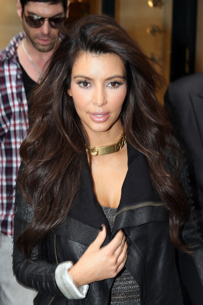 Kim Kardashian Hair Reality personality Kim Kardashian arrives at Roissy