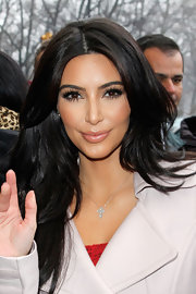 Kim Kardashian wore a pale pink-beige lipstick while out in NYC.