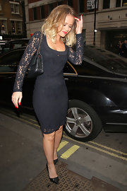 Kimberley Walsh pulled her elegant look together with a pair of black pointy pumps.