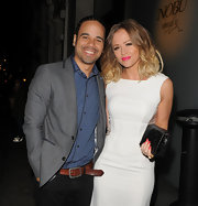 Kimberley Walsh complemented her dress with an elegant black crocodile clutch during a night out in London.