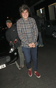 Frankie Cocozza gave his plaid shirt a lift with these brick-red-and-white canvas kicks.