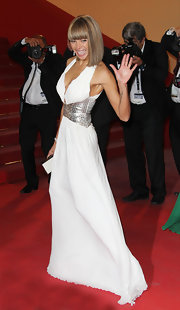 Ana Araujo glittered on the 'Melancholia' red carpet in an embellished white halter gown.
