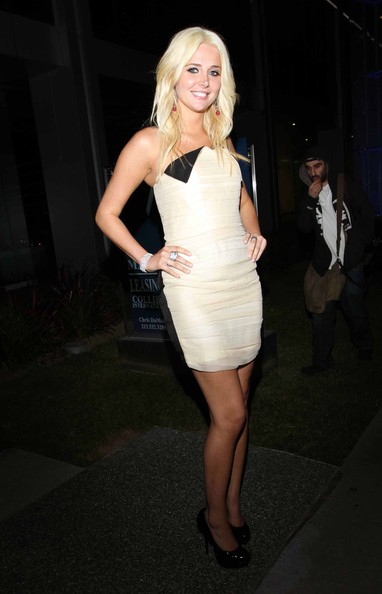 Playmate Kristina Shannon showed off her strapless dress, which showed off her bodacious bod.