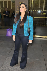 Kyle Richards chose a pair of flare jeans for her daytime look while in NYC.