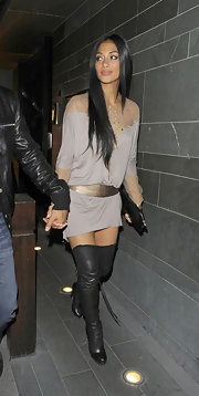 Nicole Scherzinger spent an evening out in London wearing sexy black leather over-the-knee boots.