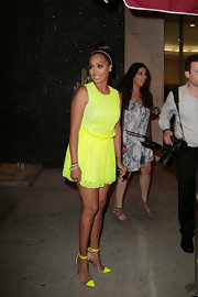 La La Anthony went all out with the brights during the anniversary party of Courvoisier Gold with her neon-yellow pumps and mini dress combo.