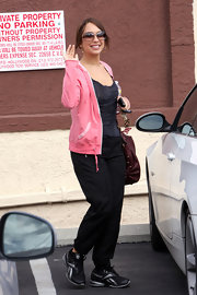 Cheryl Burke sported black and silver Reebok sneakers outside of 'Dancing with the Stars' rehearsals.