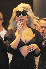 Lady Gaga wore her stiletto nails polished with a pale beige polish while out in NYC.