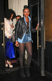Tika Sumpter wore an edgy ensemble, topped off with a black leather jacket, during a dinner out at Beso Steakhouse.