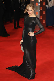 Melissa George was a smoldering temptress in this black luminous gown at the BAFTAs.