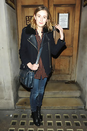 Laura Carmichael wore a comfy black fleece jacket with a leather collar after her show at the Vaudeville Theatre.