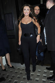 Lauren wears a black cami with black jeggings for this Cat Woman look.