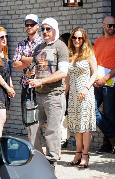 Susan Downey showed off her curvy physique in a striped sundress during a Memorial Day beach party.