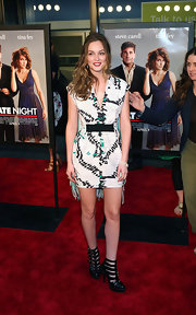 "Leighton Meester showed off her ""Gossip Girl style at the premiere of ""Date Night"". She outfitted her strappy ankle boots with a tribal inspired print dress. What a knockout!"