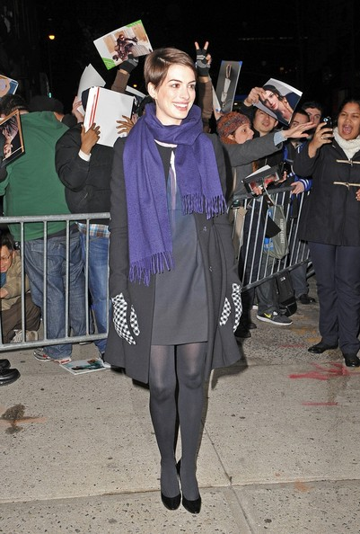 More Pics of Anne Hathaway Tights (4 of 5) - Anne Hathaway Lookbook - StyleBistro