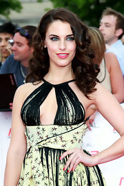Jessica Lowndes styled her hair in soft bouncy curls for the National Movie Awards in London.