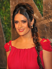 Salma Hayek wore her hair in a long braided 'do at the 2012 'Vanity Fair' Oscar Party.