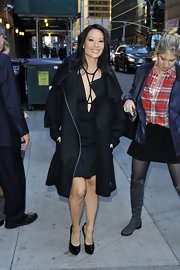 Check out this scandalous LBD Lucy wore under her warm wool coat in NYC!