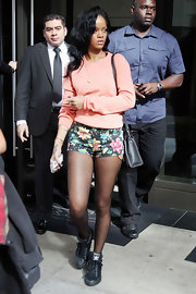 Rihanna wore these floral short shorts over her stockings while out in NYC.