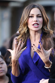 Sofia Vergara wore a few coats of opaque aubergine polish on her lengthy nails during an appearance on 'Extra.'