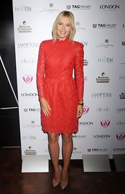 Maria looked devilishly beautiful in this red lasercut cocktail dress at the 'Hamptons Magazine' launch.