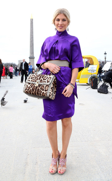 Hofit Golan added some spice to her fashion week look with this embellished leopard print tote.