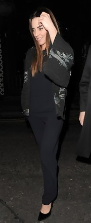 Mel C wore an all-black ensemble, topped off with an embroidered jacket, while clubbing in London.