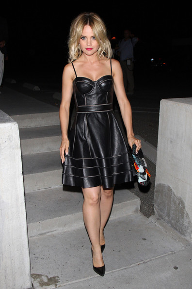 Mena Suvari Leather Dress