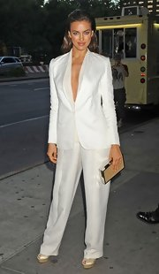Irina wore a masculine yet sexy pantsuit to the 'Rock of Ages' premiere in NY.