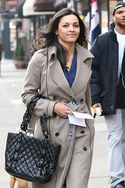 Jessica Lucas carried a timeless black leather Chanel purse while filming 'Are We Officially Dating?' in NYC.